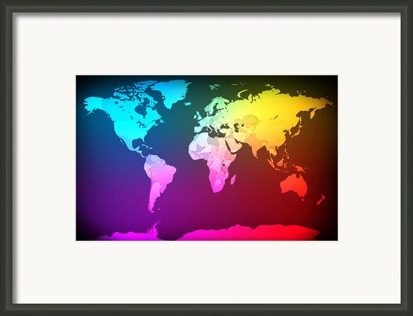 Abstract Map Of The World Framed Print By Michael Tompsett