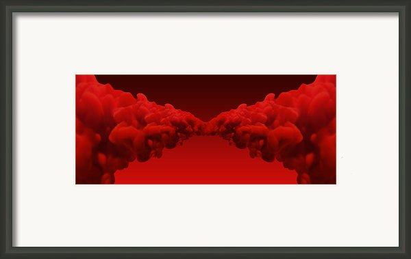 Abstract Merging Red Inks Framed Print By Allan Swart