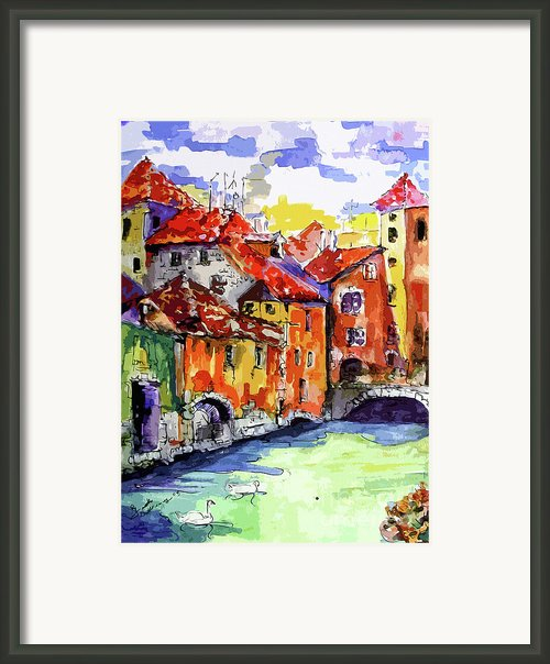 Abstract Old Houses In Annecy France Framed Print By Ginette Callaway