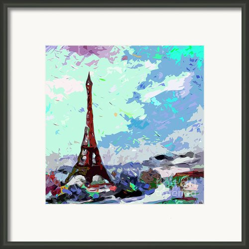 Abstract Paris Memories In Blue Framed Print By Ginette Callaway