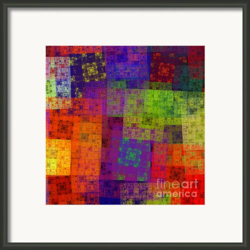 Abstract - Rainbow Bliss - Fractal - Square Framed Print By Andee Photography
