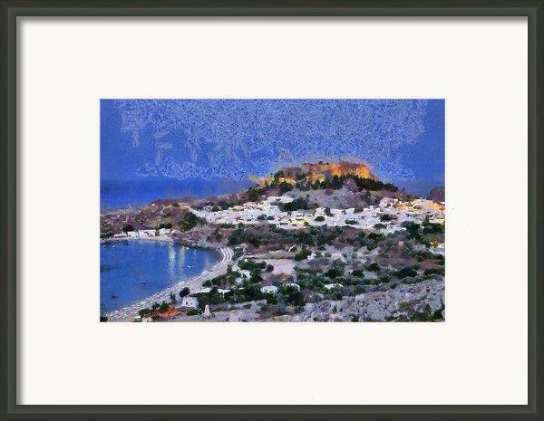 Acropolis Village And Beach Of Lindos Framed Print By George Atsametakis