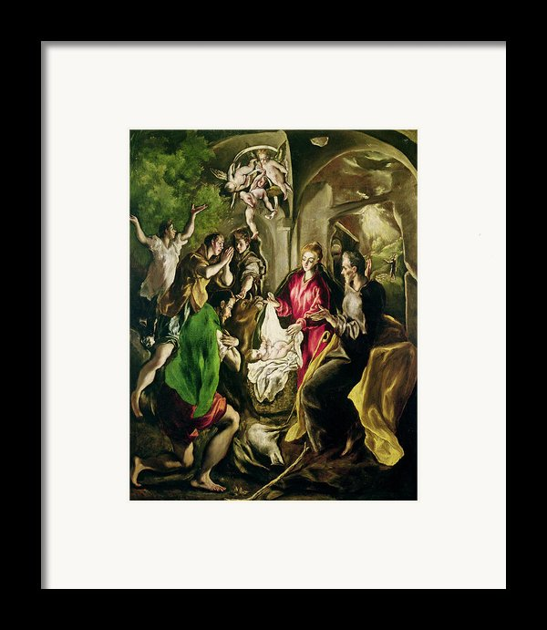 Adoration Of The Shepherds Framed Print By El Greco Domenico Theotocopuli