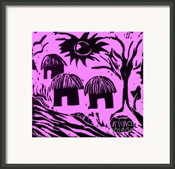 African Huts Pink Framed Print By Caroline Street