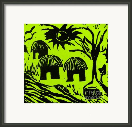 African Huts Yellow Framed Print By Caroline Street