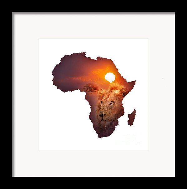 African Wildlife Map Framed Print By Johan Swanepoel