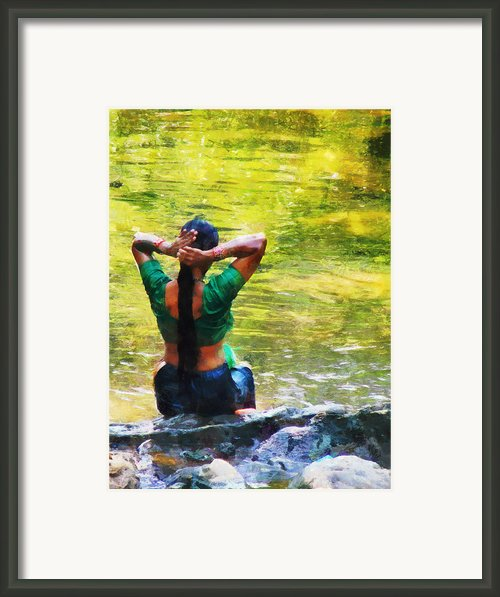 After The River Bathing. Indian Woman. Impressionism Framed Print By Jenny Rainbow