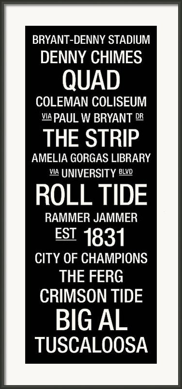 Alabama College Town Wall Art Framed Print By Replay Photos
