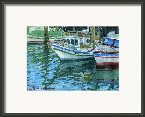 Alaskan Boats In Rippling Water Framed Print By Shalece Elynne