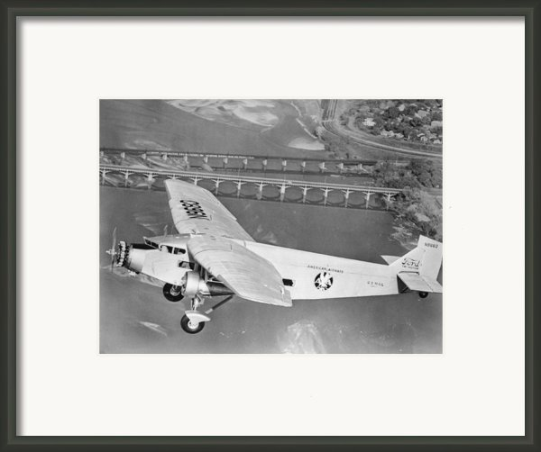 American Airlines Tri-motor Framed Print By Henri Bersoux