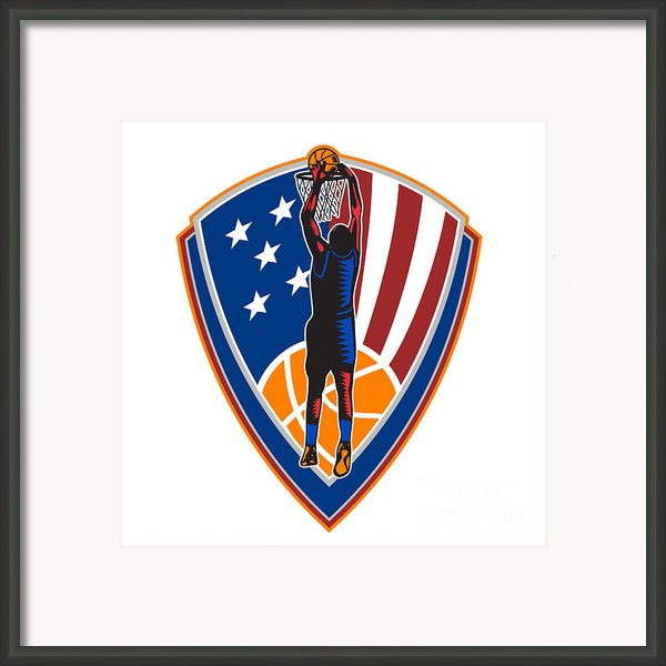 American Basketball Player Dunk Ball Shield Retro Framed Print By Aloysius Patrimonio