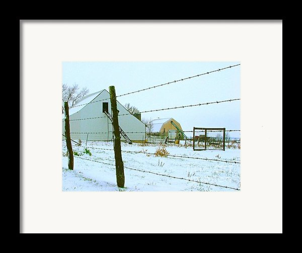 Amish Farm In Winter Framed Print By Julie Dant