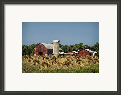 Amish Farm Wheat Stack Harvest Framed Print By Kathy Clark