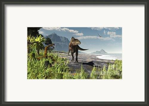 An Acrocanthosaurus Roams An Early Framed Print By Arthur Dorety