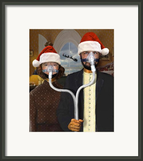 An American Gothic Sleep Apnea Merry Christmas Framed Print By Mike Mcglothlen