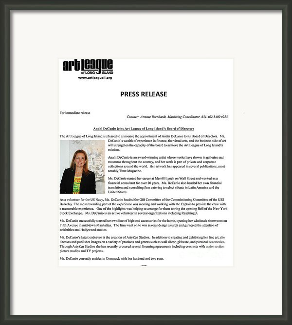Anahi Decanio Joins Executive Board Of Art League Of Long Island Framed Print By Anahi Decanio