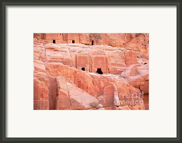 Ancient Buildings In Petra Framed Print By Jane Rix
