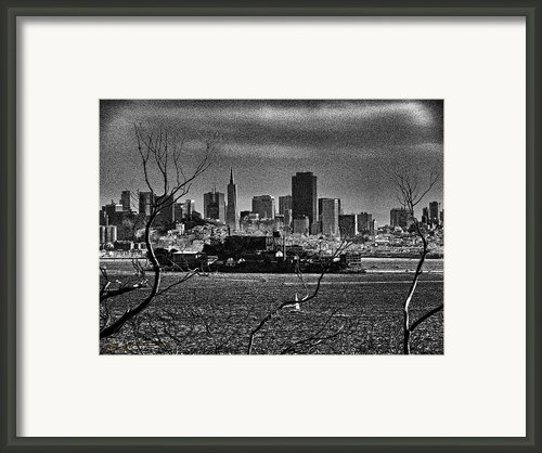 Angel Island State Park California - Alcatraz And San Francisco Skyline Monochrome Framed Print By David Rigg