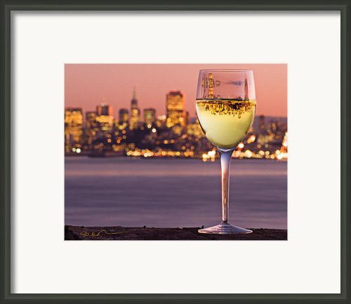 Angel Island State Park California - San Francisco City - Chardonnay In Wine Glass - Inverted Image Framed Print By David Rigg