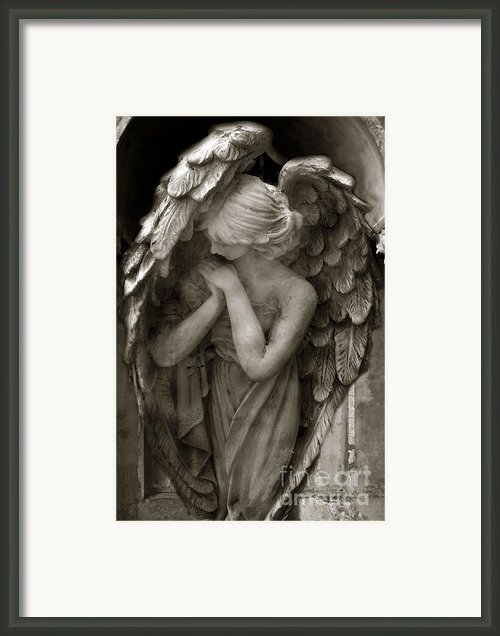 Angel Photography - Dreamy Spiritual Angel Art - Guardian Angel Art In Prayer  Framed Print By Kathy Fornal