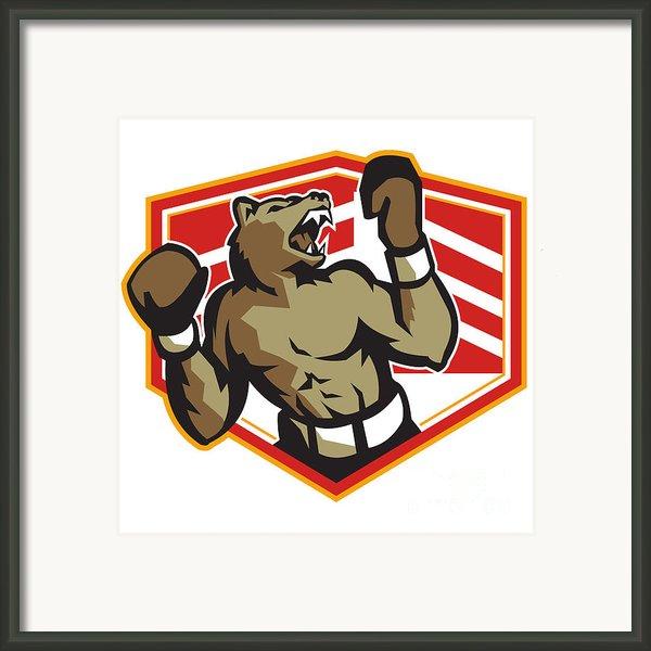 Angry Bear Boxer Boxing Retro Framed Print By Aloysius Patrimonio