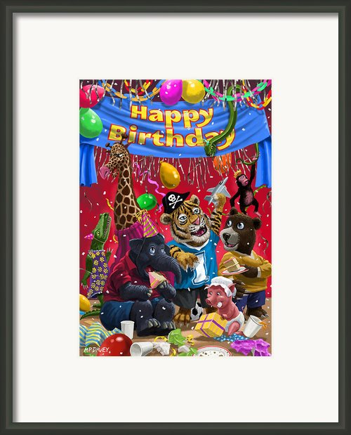 Animal Birthday Party Framed Print By Martin Davey