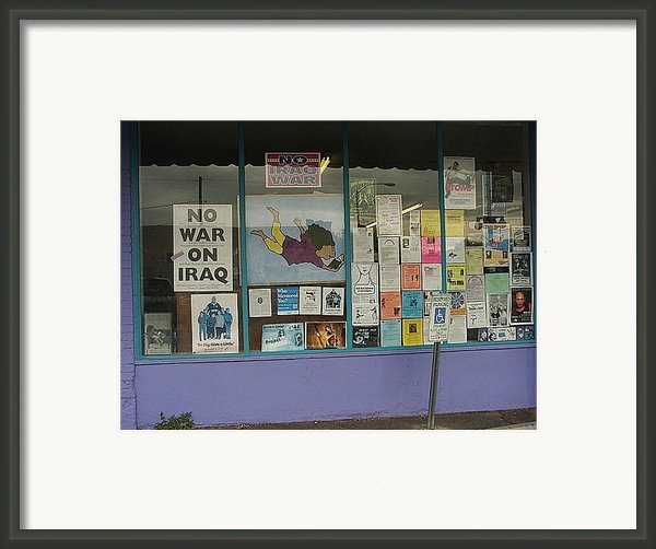 Anti-iraq War Posters 4th Avenue Book Store Window Tucson Arizona 2000 Framed Print By David Lee Guss