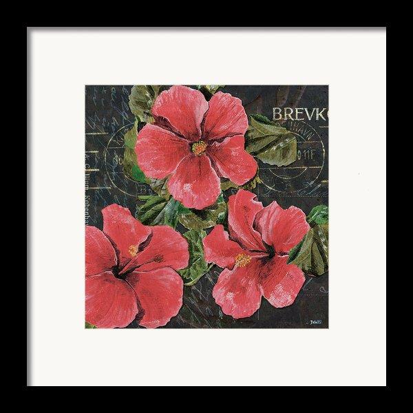 Antique Hibiscus Black 3 Framed Print By Debbie Dewitt