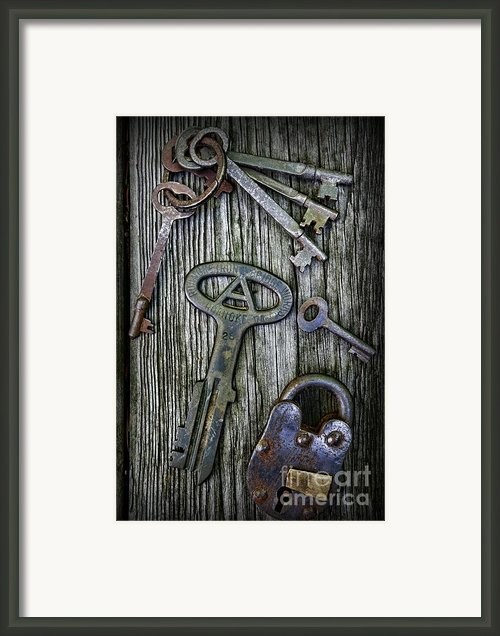 Antique Keys And Padlock Framed Print By Paul Ward