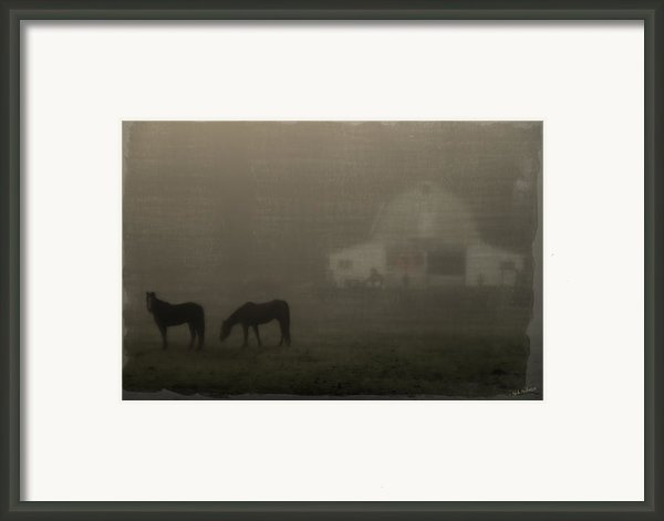 Antique Scene Of Horses In A Fog Framed Print By Mick Anderson