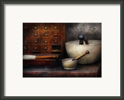 Apothecary - Pestle And Drawers Framed Print By Mike Savad