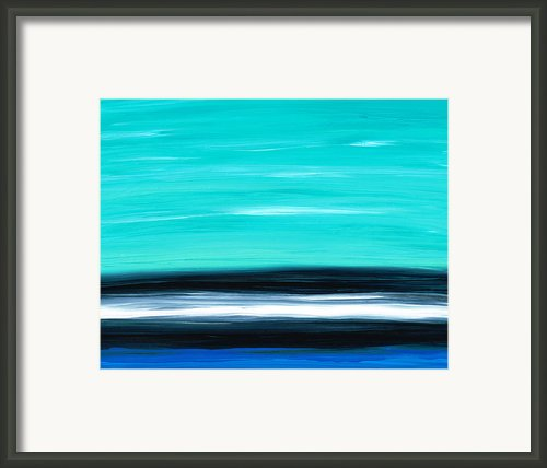 Aqua Sky - Bold Abstract Landscape Art Framed Print By Sharon Cummings