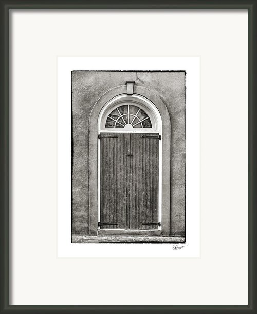 Arched Door In French Quarter In Black And White Framed Print By Brenda Bryant