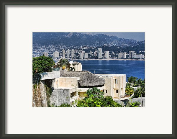 Architecture With Ith Acapulco Skyline Framed Print By Linda Phelps