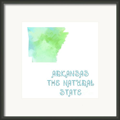 Arkansas - The Natural State - Map - State Phrase - Geology Framed Print By Andee Photography