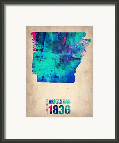 Arkansas Watercolor Map Framed Print By Irina  March