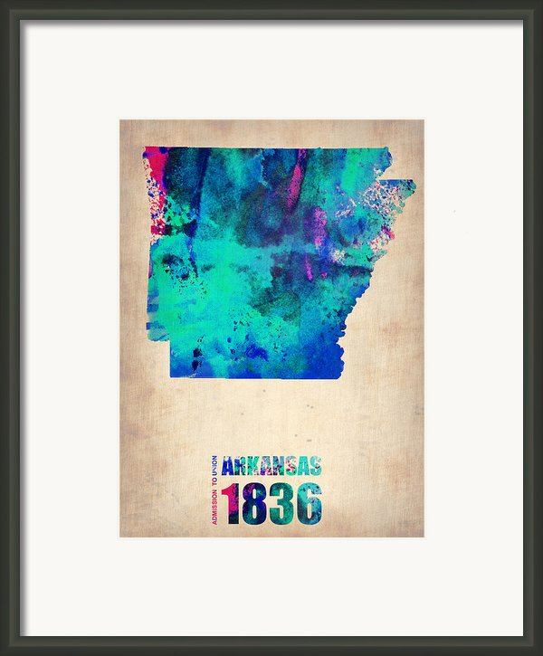 Arkansas Watercolor Map Framed Print By Naxart Studio