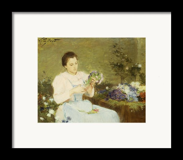 Arranging Flowers For A Spring Bouquet Framed Print By Victor Gabriel Gilbert