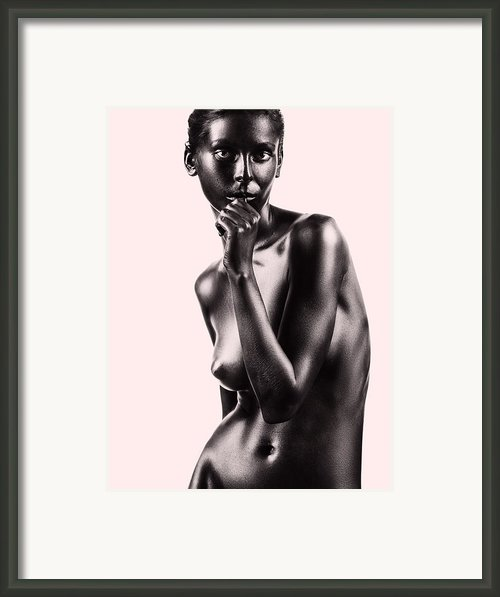Artistic Nude Beautiful Woman Beige Background Framed Print By Dan Comaniciu