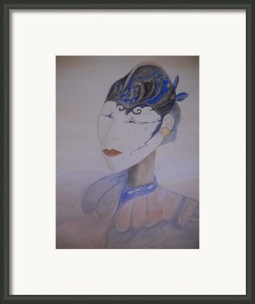 Asian Mask Framed Print By Marian Hebert