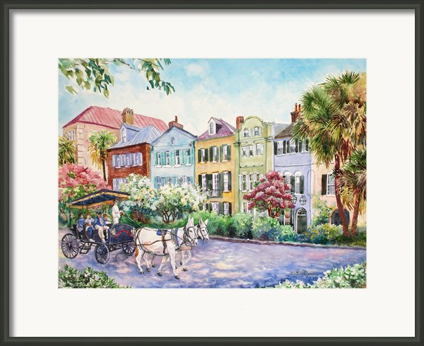 Assault And Battery On Rainbow Row Framed Print By Alice Grimsley