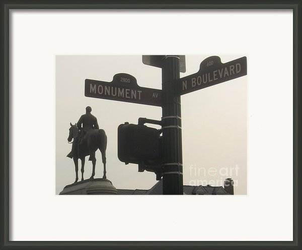 At Monument And Boulevard Framed Print By Nancy Dole Mcguigan