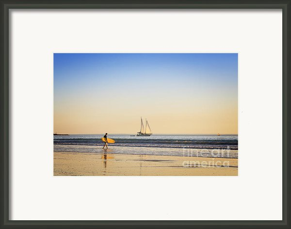 Australia Broome Cable Beach Surfer And Sailing Ship Framed Print By Colin And Linda Mckie