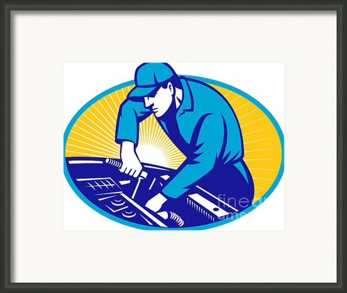Auto Mechanic Car Repair Retro Framed Print By Aloysius Patrimonio