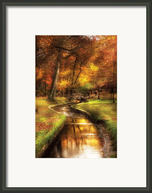Autumn - Landscape - By A Little Bridge  Framed Print By Mike Savad