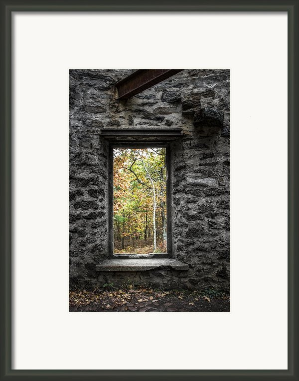 Autumn Within Cunningham Tower - Historical Ruins Framed Print By Gary Heller