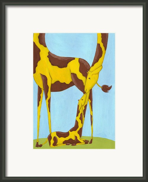 Baby Giraffe Nursery Art Framed Print By Christy Beckwith
