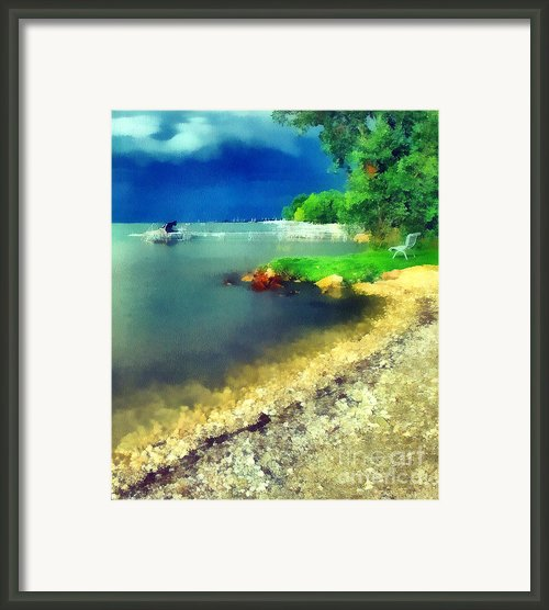 Balaton Lake Shore Framed Print By Odon Czintos