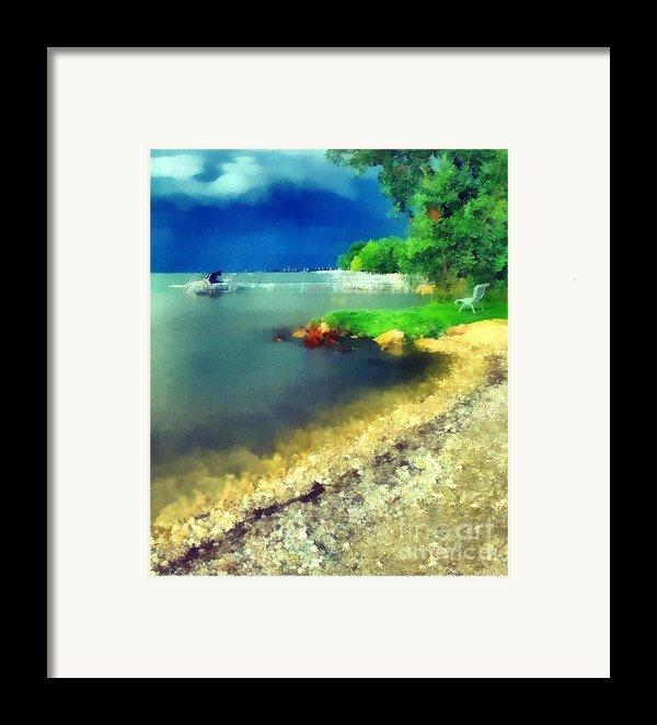 Balaton Lake Shore Framed Print By Odon Czintos