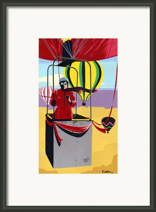 Ballooning Balloons Balloonists 1980s 80s Original Pop Art Nouveau Painting Print Red Yellow Retro  Framed Print By Walt Curlee
